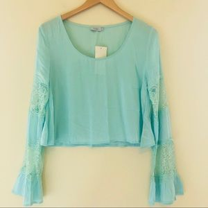 TOBI Aqua Lace Bell Sleeve Cropped Top Blouse 232